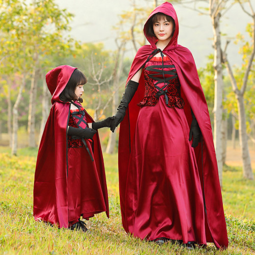 [Kids/Adults]Little Red Riding Hood Witch Red Hoodie Costume Halloween Women Girls Cosplay Outfit