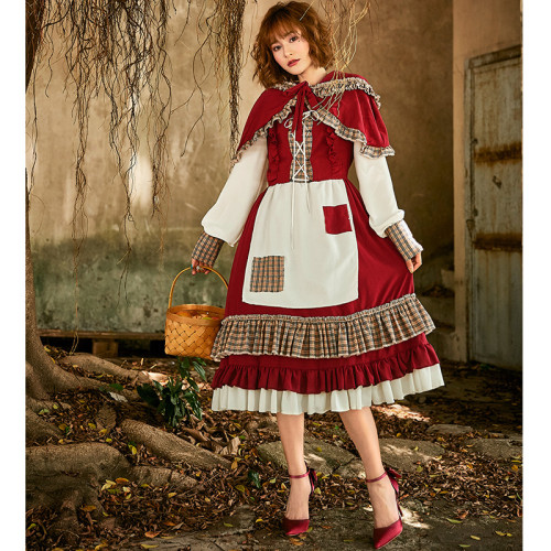 2021 New Little Red Riding Hood Cosplay Vintage Dress Halloween Party Cosplay Costume For Women Girls