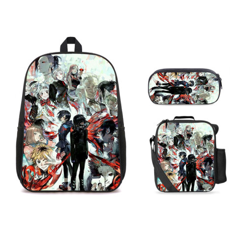 Anime Tokyo Ghoul 3-D Color 3pcs Backpack Set School Backpack With Cross Body Bag Stationery bag Set For Girls Boys
