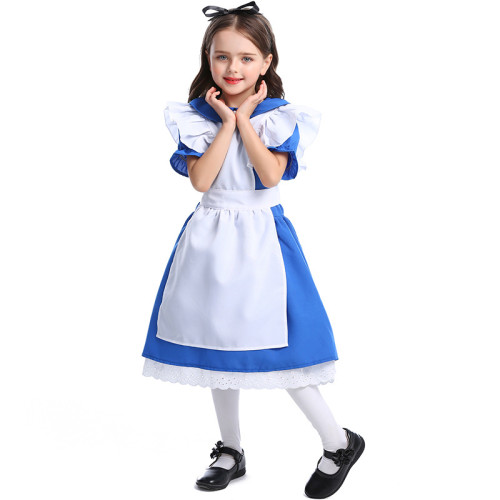 Alice In Wonderland Kids Costume Alice Blue and White Farm Dress Halloween Girls Cosplay Dress