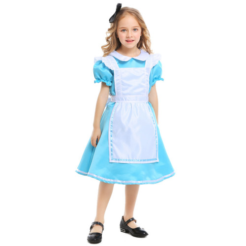 Alice in Wonderland Alice Blue Maid Kids Costume Halloween Party Girls Costume