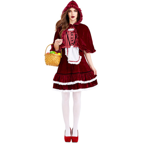 2021 New Little Red Riding Hood Red Dress Costume With Hood Halloween Cosplay Outfit