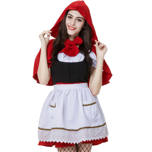Little Red Riding Hood Vintage Dress Costume With Red Hood Halloween Women Girls Cosplay Outfit
