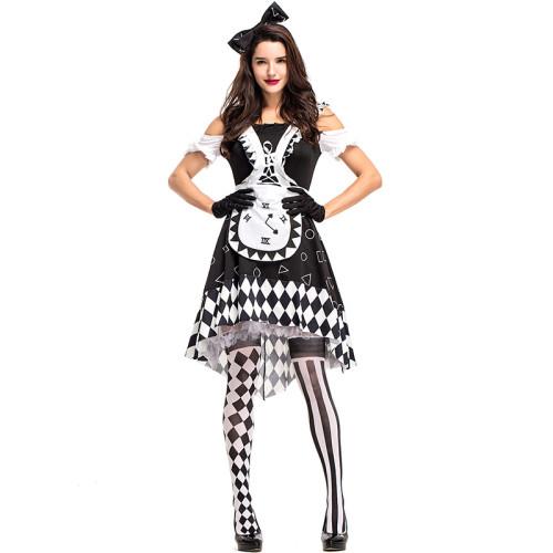 Alice in Wonderland Clock Costume Dress Black and White Halloween Cosplay Dress