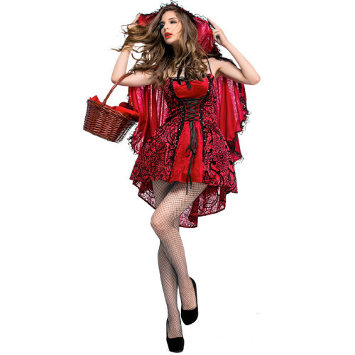 Little Red Riding Hood Costume Dress With Cloak Halloween Popular Cosplay Outfit