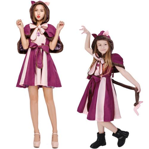 Alice in Wonderland Cheshire Cat Costume Girls Women Halloween Dress Family Matching Costume