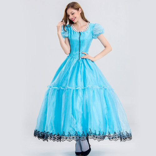 Alice in Wonderland Alice Blue Princess Dress Halloween Women Girls Costume Dress