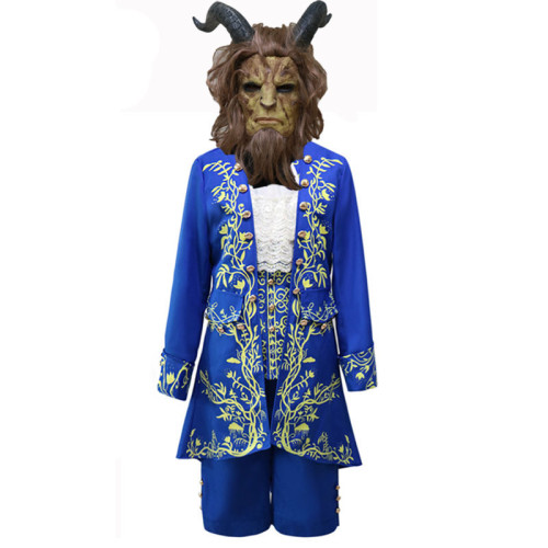 Beauty and the Beast The Prince Blue Costume Suit Halloween Cosplay Costume Whole Set With Mask