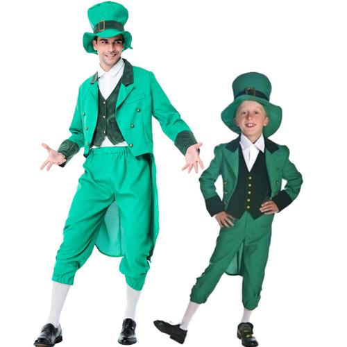 Alice In Wonderland ELF Costume Men Boys Halloween Cosplay Green Suit Dad and Son Matching Suit Halloween Costume