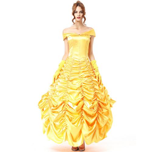 Beauty and the Beast Belle Costume Yellow Princess Dress Women Girls Halloween Costume