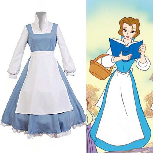Beauty and the Beast Belle Cosplay Dress Farm Girls Blue and White Cosplay Dress