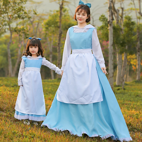 [Kids/Adults]Beauty and the Beast Belle Blue Dress Costume Girls Women Halloween Cosplay Outfit Family Matching Costume