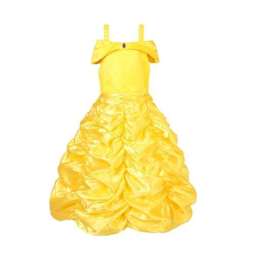 Beauty and the Beast Kids Girls Belle Costume Yellow Princess Dress Halloween Party Dress