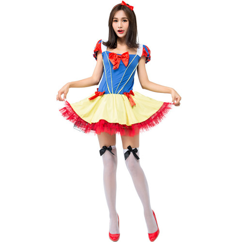 Princess Snow White Costume Halloween Cosplay Short Dress