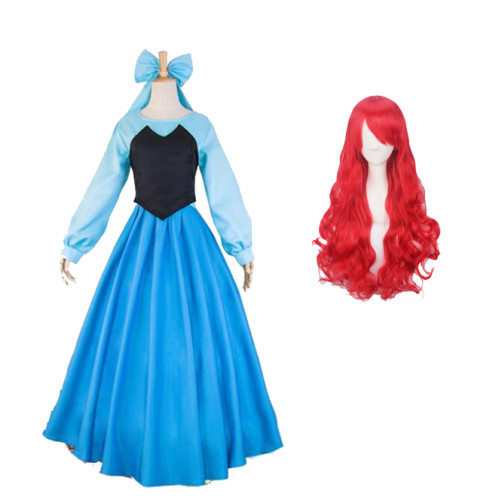 The Little Mermaid Ariel Cosplay Costume Full Set Dress With Cosplay Wigs Whole Set Halloween Costume