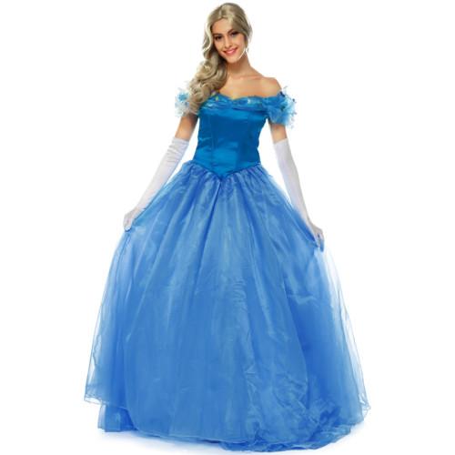 Princess Cinderella Cosplay Costume Dress Long Blue Party Dress Halloween Women Girls Cosplay Outfit
