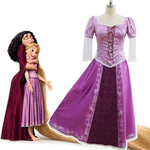 [Kids/Adults]Tangled Rapunzel Cosplay Purple Dress Halloween Cosplay Costume For Women Girls