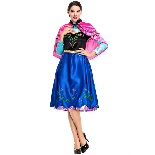 Anime Frozen Princess Anna Cosplay Costume With Cloak Halloween Women Cosplay Outfit