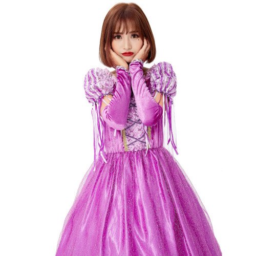 Tangled Princess Rapunzel Cosplay Dress Halloween Women Girls Party Costume Outfit