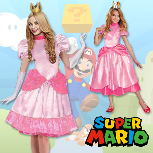 [Kids/Adults] Super Mario Princess Peach Cosplay Pink Halloween Cosplay Dress Outfit For Girls Women