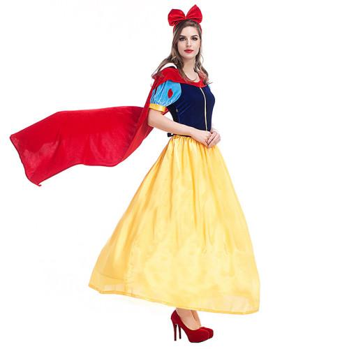 Princess Snow White Halloween Cosplay Costume Girls Women Dress With Cloak
