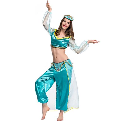 Princess Jasmine Women Halloween Cosplay Costume Dress Halloween Party Outfit