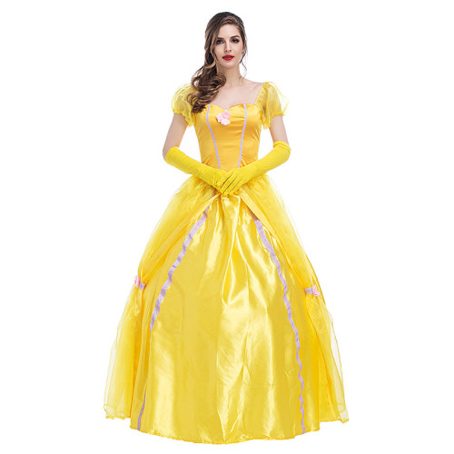 Beauty and the Beast Princess Dress Women Halloween Belle Costume Party Dress With Crinoline