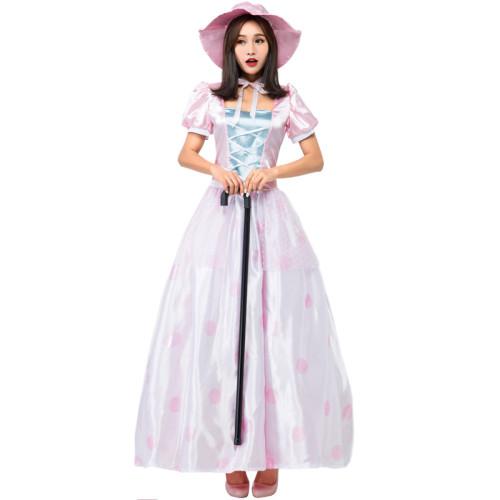 Little Bo-Peep Princess Dress Halloween Party Dress With Hat Women Girls Halloween Outfit