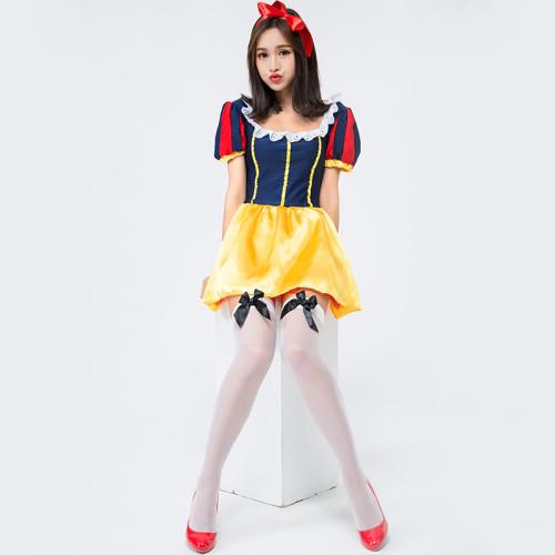 Princess Snow White Costume Halloween Girls Women Cosplay Short Dress Full Set