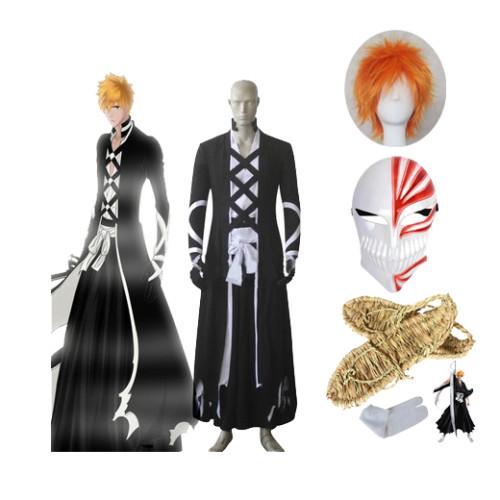 Anime Bleach Cosplay Kurosaki Ichigo Fullbring New Bankai Look Cosplay Costume Full Set With Wigs Shoes and Mask