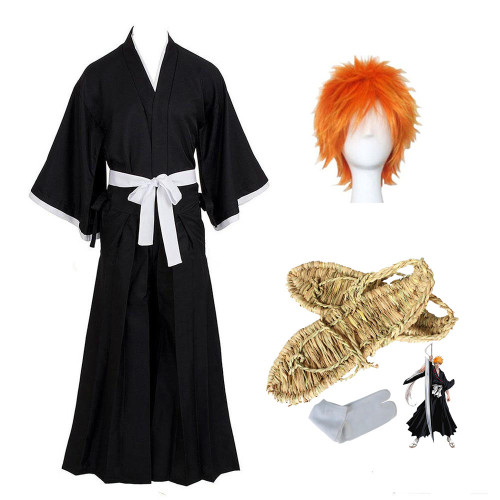 Anime Bleach Kurosaki Ichigo Cosplay Costume Whole Set With Wigs Cosplay Shoes Straw sandals and Sock Whole Set Halloween Carnival Outfit