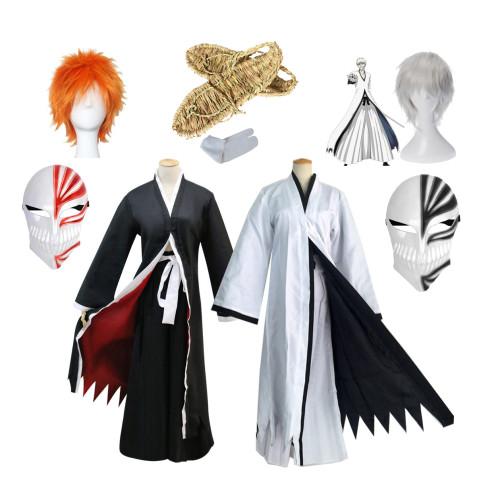 Anime Bleach Ichigo Kurosaki Black/White Costume Whole Set With Wigs Mask and Shoes Straw sandals Full Set Costume