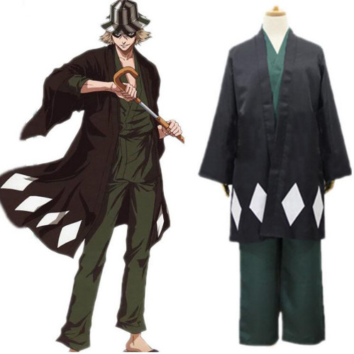 Anime Bleach Kisuke Urahara Cosplay Costume Full Set With Wigs Hat Shoes and Socks Halloween Whole Set Cosplay Outfit