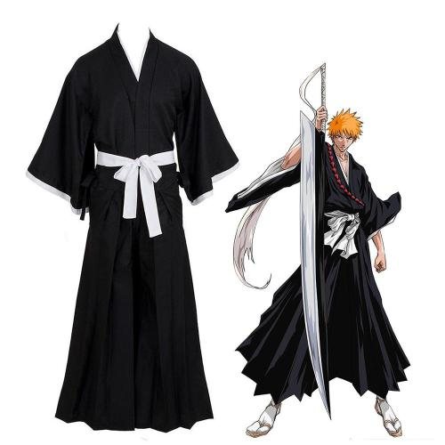 Anime Bleach Kurosaki Ichigo Die Pa Costume Kimono Top and Pants Halloween Carnival Costume