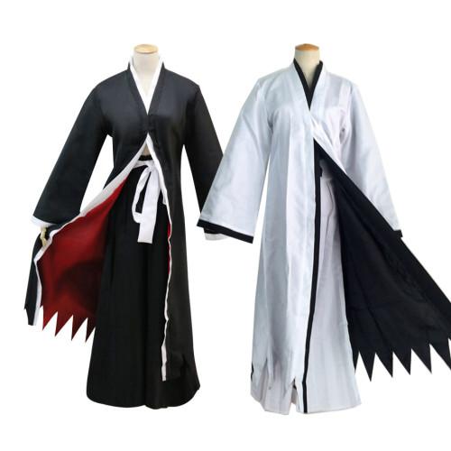 Anime Bleach Ichigo Kurosaki Costume Kimono Cloak Full Set Halloween Costume Black/White
