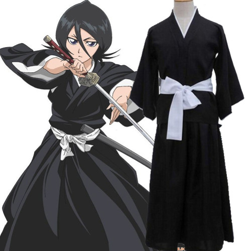 Anime Bleach Rukia Kuchiki Cosplay Costume Black Komono Halloween Unsiex Costume