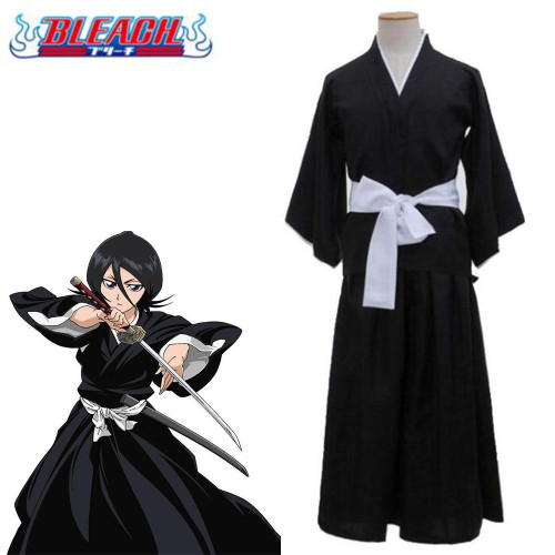 Anime Bleach Rukia Kuchiki Cosplay Costume Full Set With Wigs Halloween Whole Set Cosplay Outfit