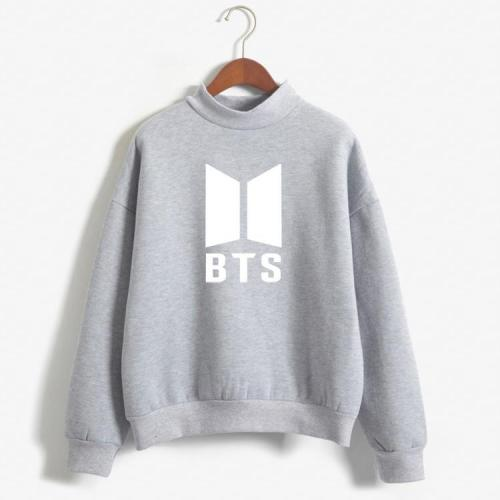 BTS Fashion Hoodie Long Sleeves Turtle Neck Fall and Winter Unisex Hoodie