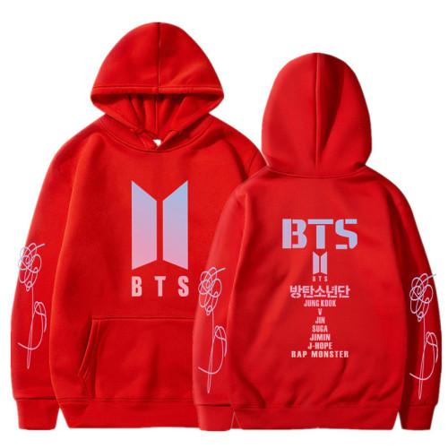 BTS Popular Autumn and Winter Fleece Inside Hooded Sweatshirt Unisex Hoodie