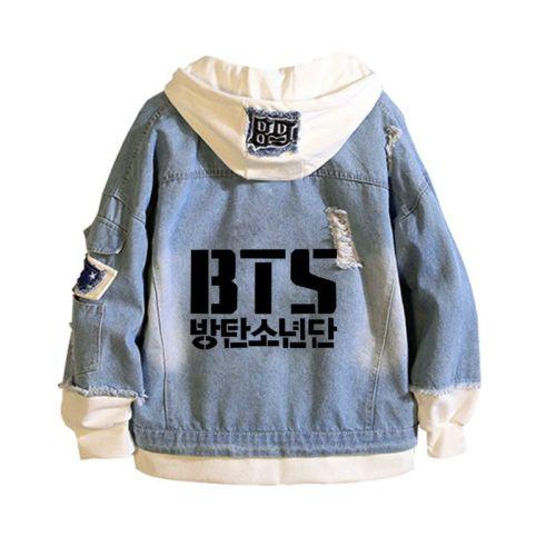 BTS Fashion Jean Jacket Fake Two Pieces Hooded Demin Zipper Jacket Coat