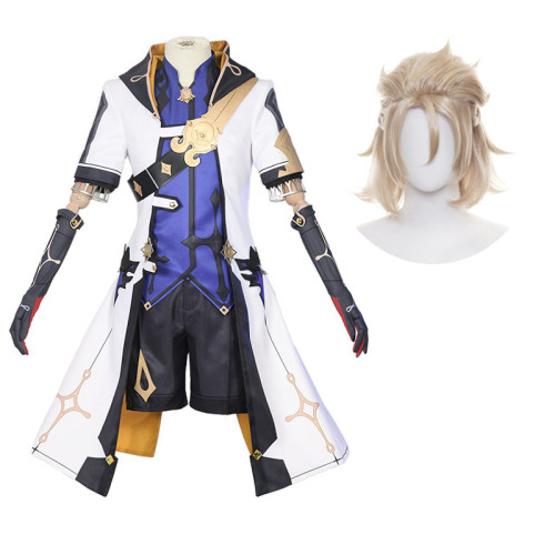 Genshin Impact Albedo Halloween Cosplay Costume With Wigs Set Carnival Party Outfit