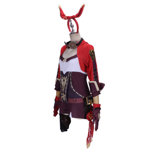 Genshin Impact Amber Cosplay Costume With Headband and Glassess Halloween Carnival Party Costume