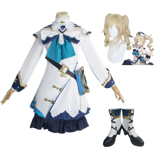 Genshin Impact Barbara Whole Set Cosplay Costume With Wigs and Cosplay Boots Halloween Party Costume