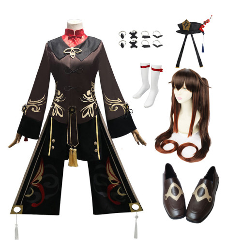 Genshin Impact Hu Tao Cosplay Costume Whole Set With Wigs Hat and Shoes Full Set Halloween Costume