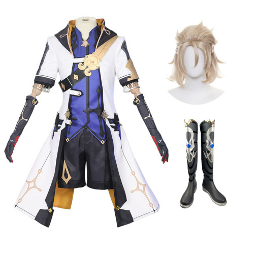 Genshin Impact Albedo Halloween Cosplay Costume Whole Set With Wigs amd Boots Cosplay Outfit Set