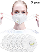 Reuseable Face Mask Dustproof Windproof Respirator Valve PM2.5 Mask Breathable Activated Carbon Filter Protective Filter Mouth Mask for Kids Men Women White (5PCS)