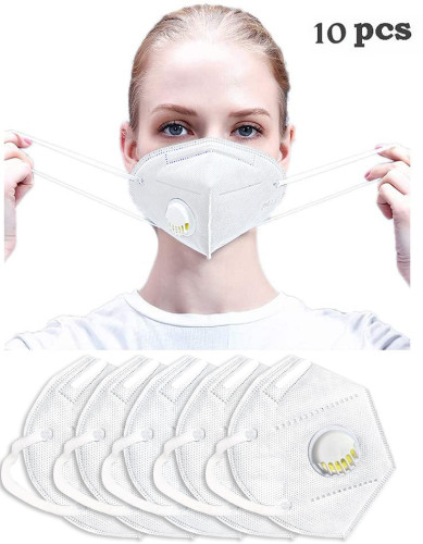 Reuseable Face Mask Dustproof Windproof Respirator Valve PM2.5 Mask Breathable Activated Carbon Filter Protective Filter Mouth Mask for Kids Men Women White (10PCS)
