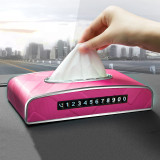 New Universal Car Armrest Box Tissue Box Creative Luminous Temporary Stop Sign Tissue Box Car Interior Products Car Accessories
