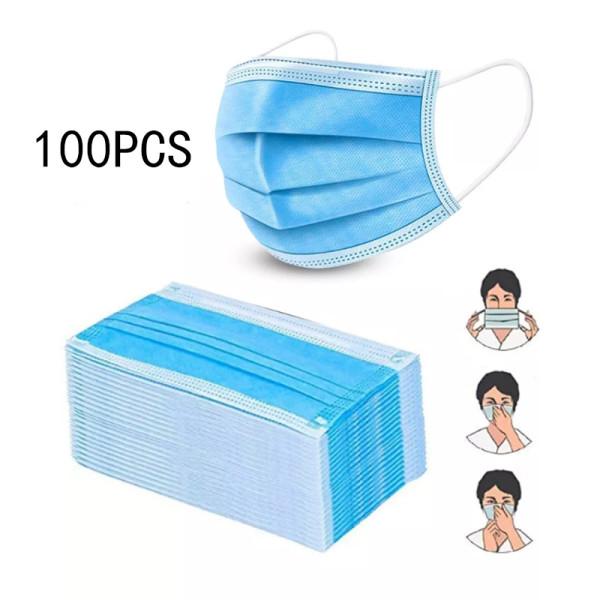 100pcs Disposable Face Masks, 3-Ply Face Masks Protective for Smoke, Dust, Pollen, etc