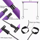 Pilates Bar Kit with Exercise Resistance Band for Home Gym Workout, Portable Anti-Slip Toning Pilates Stick with Elastic Rope Foot Loops for Indoor Yoga Muscle Stretch Body Shape for Women